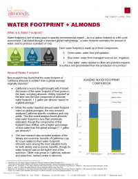 water footprint and almonds factsheet