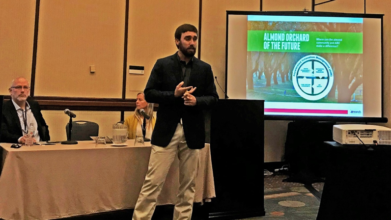 Almond Board's Spencer Cooper presenting at Sustainable Agriculture Summit